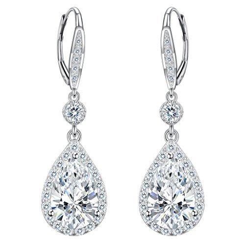 elequeen 925Sterling Silber Full Cubic Zirkonia Tropfenform Brautschmuck Leverback Baumeln Ohrringe klar (Viktorianische Weihnachts Frau Kostüm)