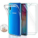 Younme Coque Samsung Galaxy A50 Silicone Transparente, [Lot de 2] Verre trempé...