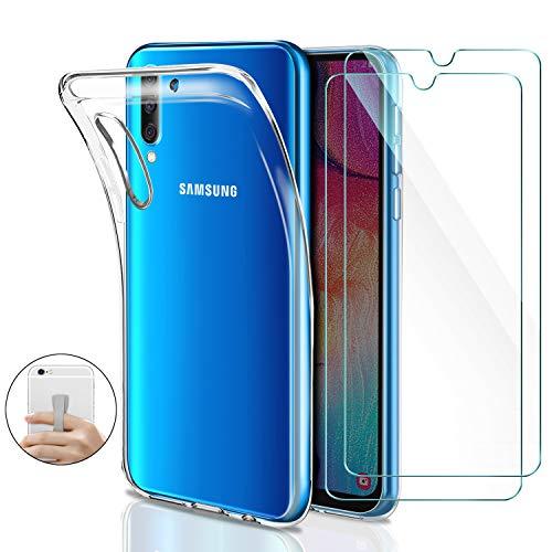 Younme Coque Samsung Galaxy A50 Silicone Transparente, [Lot de 2] Verre trempé écran Protecteur + Souple TPU Étui Protection Bumper Housse Cover [avec Support autoadhésif] pour Samsung Galaxy A50