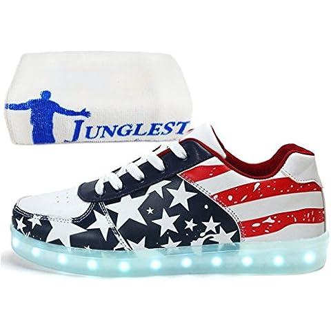 (Presente:piccolo asciugamano)JUNGLEST® donne degli uomini unisex di ricarica USB LED Light Up Shoes Glow luminoso (35 Flags)