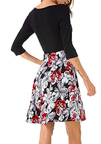 dad973252b4c ELFIN® Damen Kleid Herbst 3 4 Arm Rundhals Blumenkleider Cocktail  Partykleid Casual Basic A
