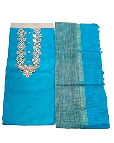 Kumar Designs Women's Net Jute Unstitched Dress Material (KumDes_018, Blue, freesize)