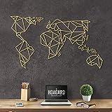Hoagard Metal World Map Gold XL - Hoagard Weltkarte aus Metall Gold | 80cm x 140cm | Geometrische Metallwandkunst, Wanddekoration