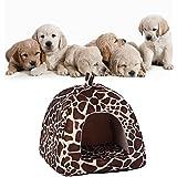 Demiawaking Weiche Haustier Schlafsack Hundehütte Katzenhöhle Hund Katze Haus (L, Leopard Farbe)
