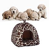 Demiawaking Weiche Haustier Schlafsack Hundehütte Katzenhöhle Hund Katze Haus (S, Leopard Farbe) - 3