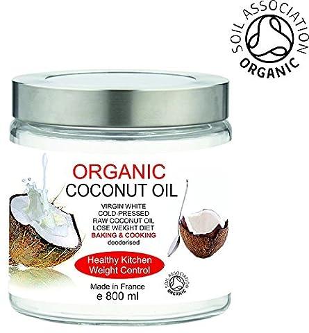 BIO Huile de Noix de Coco Organique 800 ml 100% Pure, sans odeur - Première pression à froid - Cuisine et Soins de la Peau et Cheveux