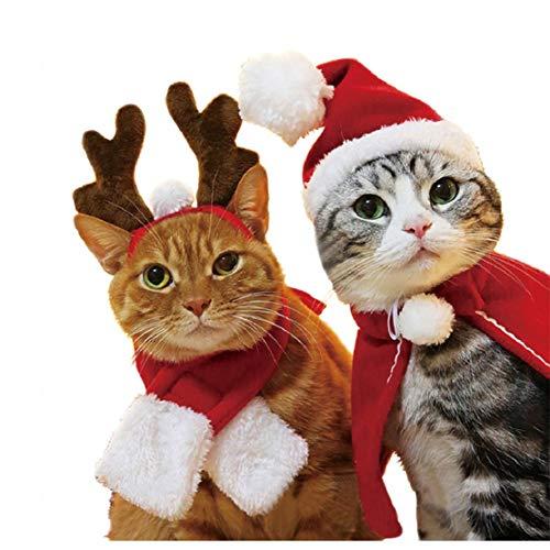 Bluelucon Weihnachten Haustier Kostüm Hund Katze Rot Hut Schal Set Chrismas Design Mütze Kleidung Haarschmuck Kostüm Schmuck Bekleidung Weihnachtsmannmütze Schmuck Bekleidung (50's Kostüm Schmuck)