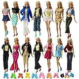 ZITA ELEMENT 20 Stück Puppensachen für Fashionista Barbie 10 Set Puppenkleidung mit 10 Paare Schuhe Mode Handgefertigte Bekleidung Kleider Urlaub Outfits Kleidung