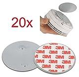 20er Set Magnetbefestigung als Zubehör für ABUS Rauchmelder und Hitzewarnmelder - RWM50, RWM250, RWM120, RM10, RM15, RM20, RM40 - nur für glatte Flächen (nicht für Rauhfaser oder losen Putz)