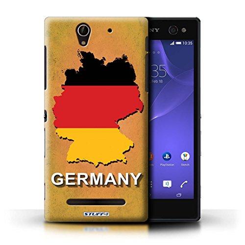 Kobalt® Imprimé Etui / Coque pour Sony Xperia C3 / Suisse/Swiss conception / Série Drapeau Pays Allemagne/Allemand