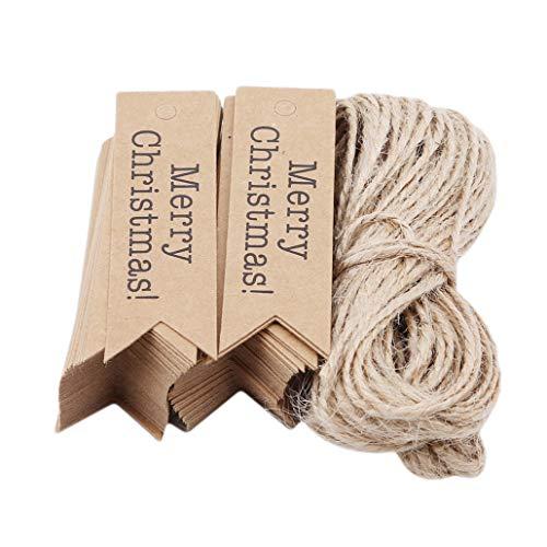 NYAOLE Weihnachten Kraftpapier Tag Hängen Label Geschenkanhänger mit Jute Seil Party Dekoration, 2 *