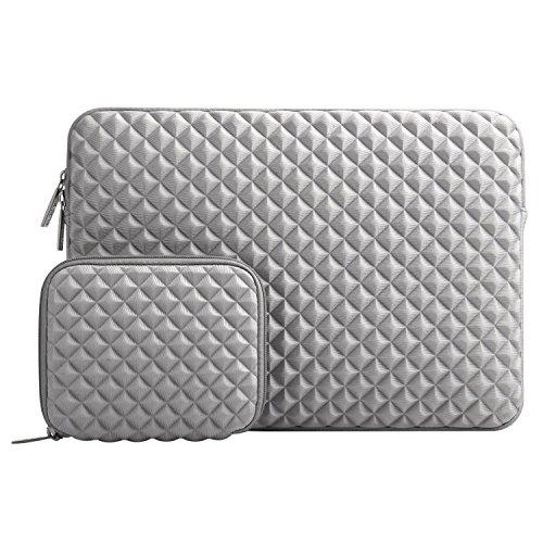MOSISO Sleeve Hülle Tasche Kompatibel 15-15,6 Inch MacBook Pro, Ultrabook Computer Wasserabweisend and stoßfest Neopren Laptoptasche mit Diamant-Muster Schaumpolsterung mit Klein Fall, Grau