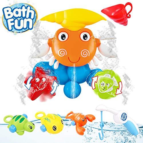 OYE HOYE Badespielzeug-Set, Krabbe Badewannenspielzeug Wasser Spray Badespielzeug mit Saugnapf 4 Stück Angelspielzeug Wassermühle Bath Toys für 1-5 Jahre Kinder Baby Kleinkind