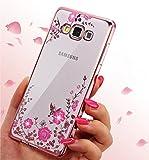 ZCRO Cover per Samsung Galaxy J3 2016 / J320, Custodia Cover Trasparente Silicone TPU Gel Case Glitter Brillantini Diamante Gomma Morbida Custodia per Samsung Galaxy J3 2016 / J320 (Oro Rosa,Rosa)