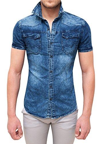 Camicia di jeans uomo blu scuro slim fit casual denim a maniche corte (l)
