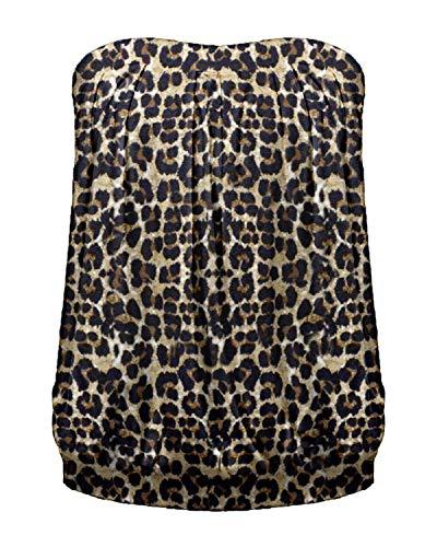 Rüschen Bluse T-shirt Top (ZANZEA Damen Schulterfrei Ärmellos Tops Rückenfrei Oberteile Rüschen Strand Leopard Tops Leopard EU 48/US 16)