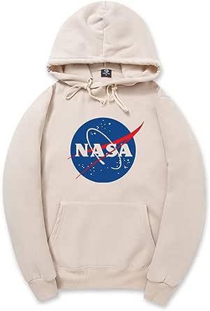 CHENMA Unisexe NASA Logo Imprimer Hiver Sweat à Capuche en Molleton Chaud avec Poche Kangourou