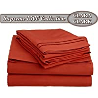 مجموعة أغطية سرير من 4 قطع من Clara Clark ® Supreme 1500 Full (Double) Size woot_15_sht-f-orange