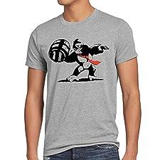 style3 Graffiti Kong Herren T-Shirt donkey pop art banksy geek snes nerd gamer, Größe:M;Farbe:Grau meliert