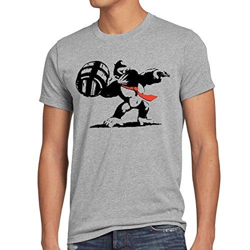 Preisvergleich Produktbild style3 Graffiti Kong Herren T-Shirt donkey pop art banksy geek snes nerd gamer, Größe:M, Farbe:Grau meliert