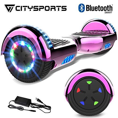 """CITYSPORTS 6.5\"""" Elektro Skateboard Board mit Bluetooth Hover Lautsprecher LED-Leuchten für Kinder und Erwachsene (Chrome Rose Red)"""
