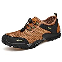 Hiking Walking Shoes Men Hiking Shoes For Mountain Climbing Athletic Sneaker Mesh Fabric Outdoor Sports Elastic Cord (Color : Brown, Size : 46 EU)