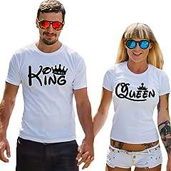 Idea Regalo - T-Shirt di Coppia King & Queen Stampa Scritta Manica Corta Maglietta Cotone Marito Moglie Fidanzati Uomo Donna Nero San Valentino (Bianco Donna + Bianco Uomo, S IT Uomo + S IT Donna)