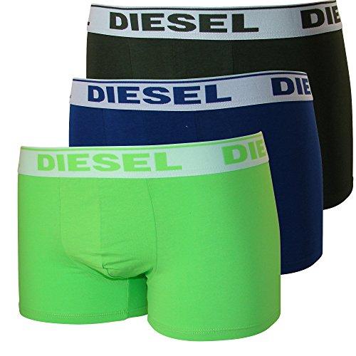 3er Pack oder 2er Pack Diesel Herren Boxershorts Unterwäsche Stretch Cotton Fresh & Bright oder Kory S M L XL mittelblau/grün/olive (3er Pack)