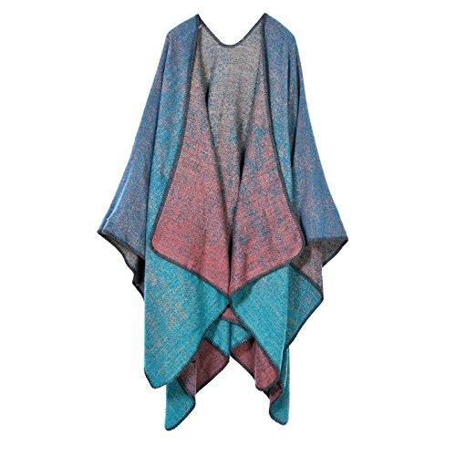 nacola Damen Retro Vintage Herbst Winter Dick Warm Schal Decke Poncho Cape für Lady Weihnachten Geschenk blau