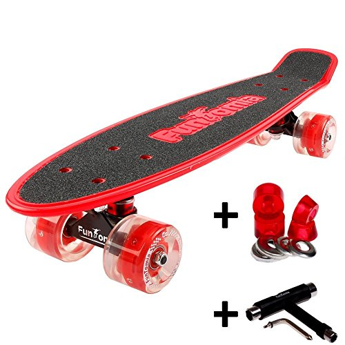 FunTomia Mini-Board Cruiser Skateboard mit 70/65mm Big Wheel Rollen inkl. MACH1® ABEC-11 Kugellager