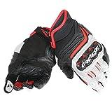 Dainese-CARBON D1 SHORT Handschuhe, Schwarz/Weiss/Lava-Rot, Größe M