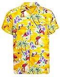 King Kameha Funky Hawaiihemd, Kurzarm, Flamingos, Gelb, L