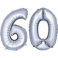 DekoRex® stagnola palloncino numero pallone ad elio palloncino palloncino decorazione di compleanno 80 centimetri in argento numero 60 - 60 ° Compleanno Palloncini