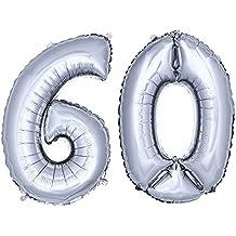 DEKOREX® Globo de la hoja 80 cm Balón de Helio Número de plata brillante argentado Decoración del globo del cumpleaños No 60