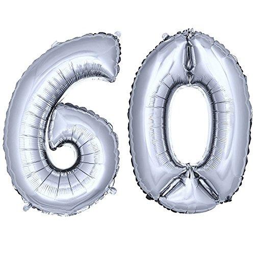 DekoRex número Globo decoración cumpleaños Brillante para Aire en argentado 80cm de Alto No. 60