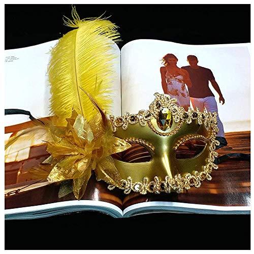 YaPin Kinder Bühne Augenmaske Maske Prom Erwachsene weibliche Prinzessin High-End-Make-up Fox Federmaske Sexy (Color : Gold) (Die Halloween-make-up Hälfte)