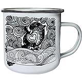 Nuevo Delfín Dibujado A Mano Retro, lata, taza del esmalte 10oz/280ml l834e