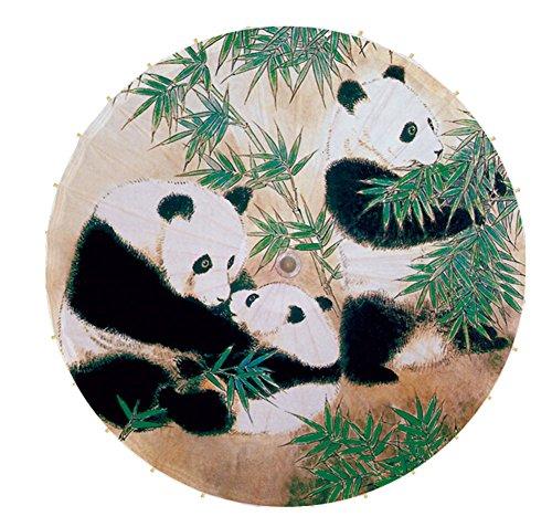 [Familie] Rainproof Handgemachte chinesische Panda Öl Papier Umbrella 33 Zoll