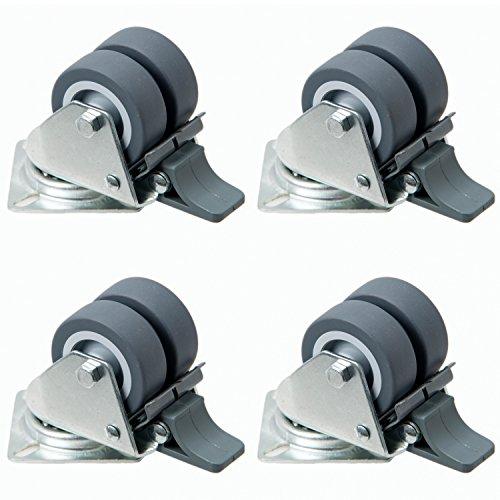 4 Stück Doppellenkrollen mit Bremse für Strandkorb etc. 50mm, kugelgelagerte Rollen als Transportrolle auch für Möbel oder Strandkörbe als Set aus Schwerlastrollen, Raddurchmesser:50