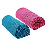 2pcs Ice Cooling Towel Microfibre Towel Sweat-Absorbent Chill Pad For Instant Cool Relief for Sunstroke Gym Beach Cycling Jogging- Just Soak & Wring Out Stay 30 Degrees Below