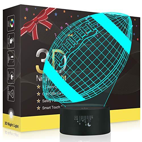 Rugby 3D Lampe,Besrina LED Nachtlicht Illusion Lampen 7 Farben ändern Berührungssteuerung USB Optische schreibtischlampe, Nachttischlampen für Kinder Weihnachten Geburtstag Beste Geschenk Spielzeug