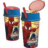Spiderman - Vaso plastico con tapa, pajita y compartimento snack 400 ml (Stor 22401)