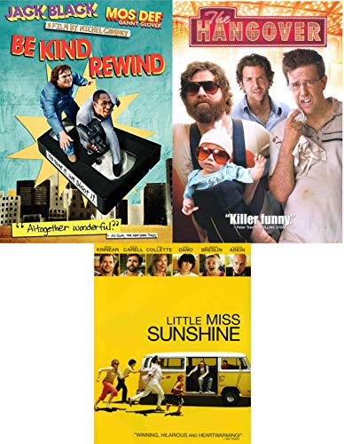 Miss Kind Hangover Comedy DVD Pack Be Kind, Rewind Jack Black + Little Miss Sunshine & The Hangover Bundle/ 3 Feature Films
