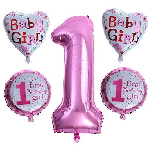 TOYMYTOY 5 Stück Geburtstag Folienballons Zahlen Luftballons Karikatur Ballon Mädchen Baby Taufe Geburt Party Dekoration