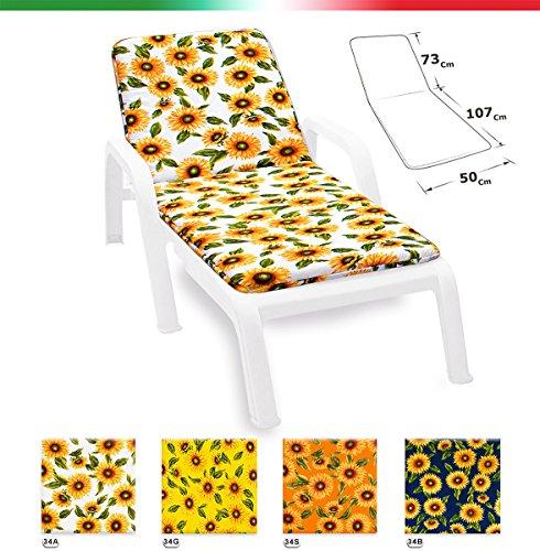 Cuscino copri sdraio lettino universale girasoli pieghevole piscina mare giardino tessuto in cotone mod.lima giallo (34g)