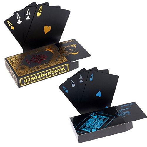2 x Playing Cards Schwarze Wasserdichtes Pokerkarten Plastik Spielkarten aus PVC Profi Premium Spielkarten für Texas Holdem Poker - 1 Gold & 1 Black
