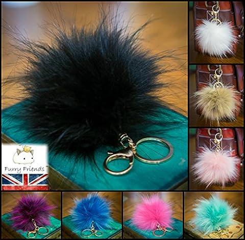3pour 2. 12cm Grand Fluffy imitation/Fausse Fourrure raton laveur style Pom Pom Big Étui porte-clés fermoir or charme noir 12 cm