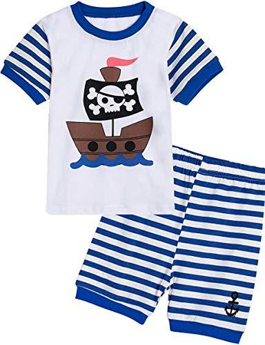 Mombebe Jungen Schlafanzug kurz Pirat Pyjamas Set Sommer Nachtwäsche (Pirat, 5 Jahre)