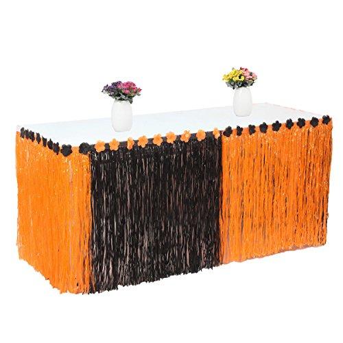 Elegantstunning erba artificiale tavolo gonna fiore intarsiato hawaiano da tavola per feste di halloween decorazione