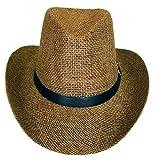 SYNC WITH STYLE Männer Frauen Unisex Western Strohhut Cowboy Hut Strandhut Breite Krempe Kirche Kappe Fedora Trilby Sonnenhut Gambler Hut mit Lederdetail Braun